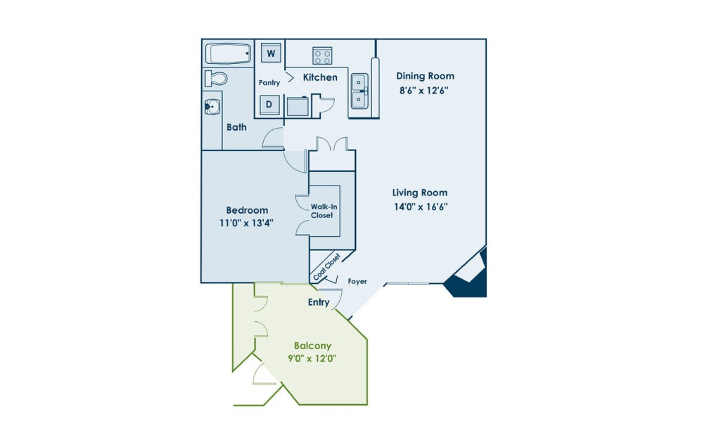 A1 - 1 bedroom floorplan layout with 1 bath and 794 square feet.