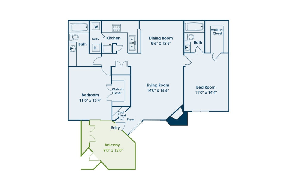 B1 - 2 bedroom floorplan layout with 2 baths and 1052 square feet.